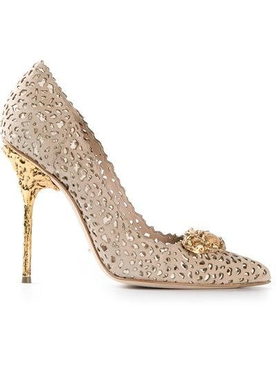 SERGIO ROSSI taupe & gold lasercut pumps with filigree heels