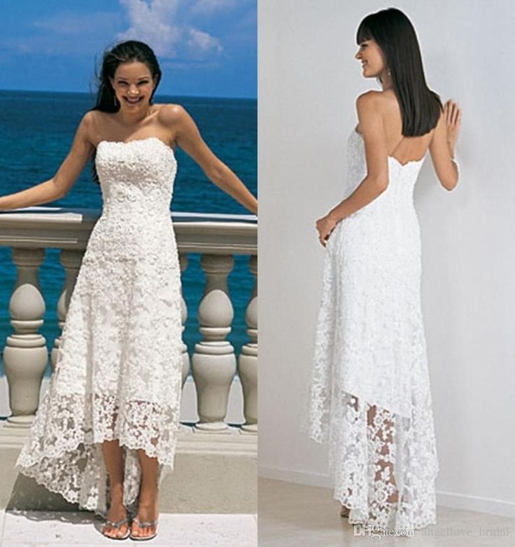 Spectacular High Low Beach Lace Wedding Dress Bridal Gown Custom Size