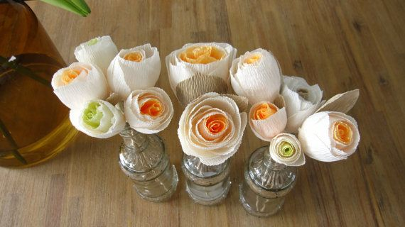 Paper Flowers ORANGE _ IVORY _ GREEN Wedding by moniaflowers