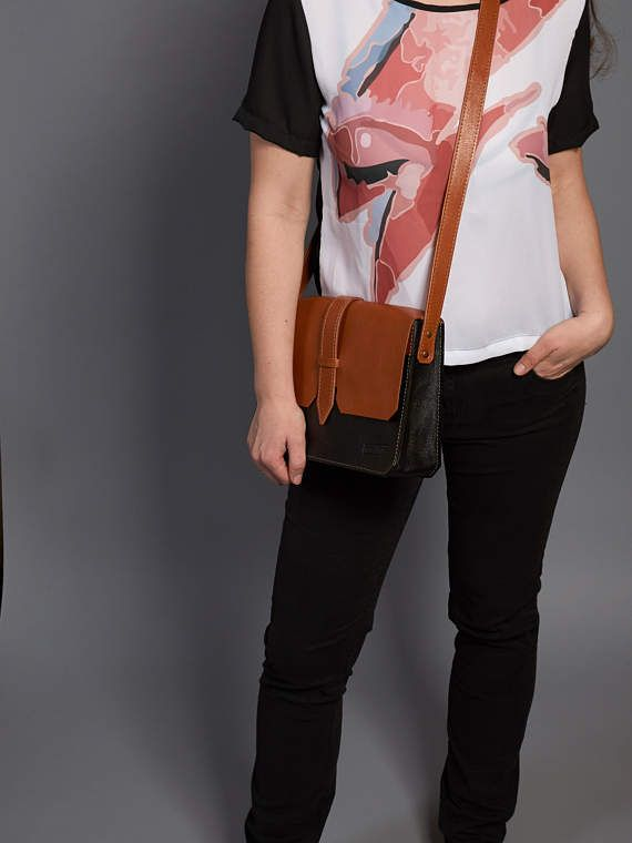 Leather crossbody bag / Orange black leather messenger bag /