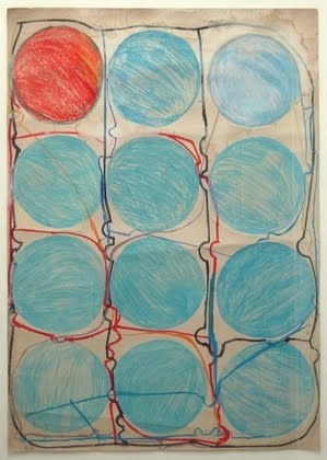 """Atsuko Tanaka. Untitled. 1956. Watercolor and felt-tip pen on paper, 42 7/8 x 30 3/8"""""""