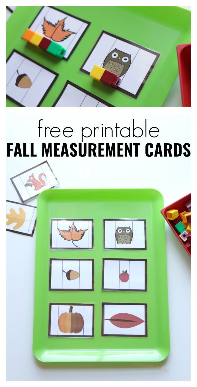 Fall Measurement Cards for Preschool – Free Printable Fall Math Activity great for PreK and Kindergarten too.