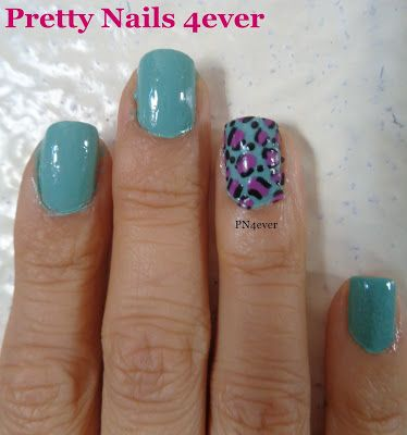 Pretty Nails 4ever - Blue and Purple Colored Leopard Nail Art