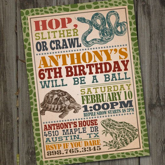 Reptile Birthday Invitation, PRINTABLE, Reptile Party Invitation, Snake Party…