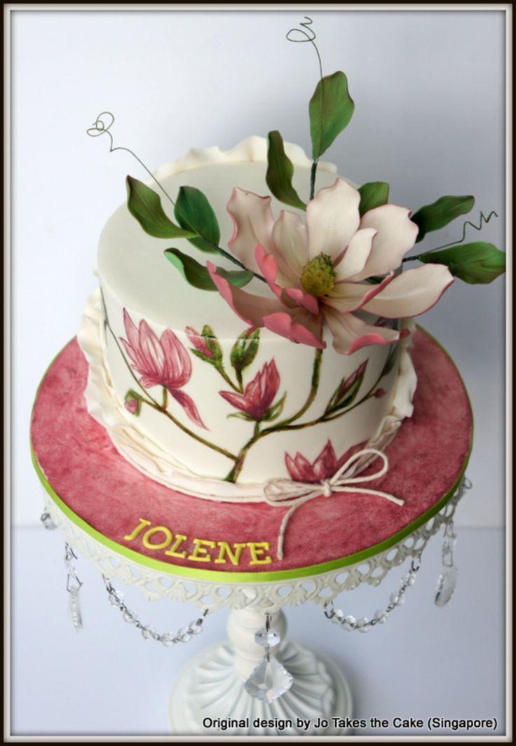 Handpainted Magnolia cake