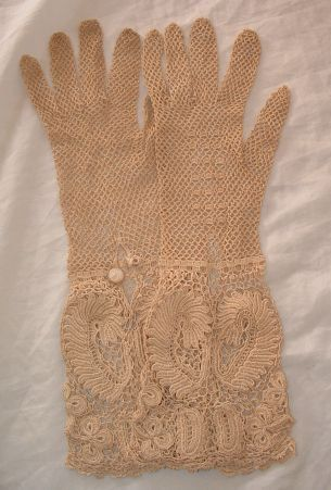 Irish Lace Gloves - Vintage Crochet Lace Gloves