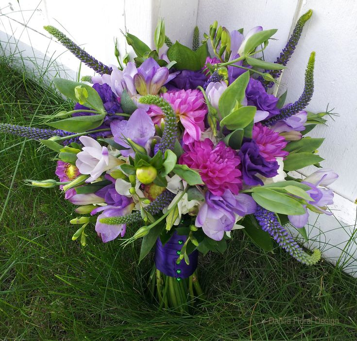 Purple Flower Bouquets | Purple Anniversary Flowers - Purple Wedding Bouquets - Dahlia Floral ...
