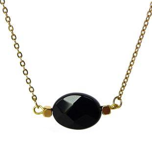 Verstelbaar kort gouden ketting ovaal zwart agaat facet geslepen half edelsteen sieraden trends musthave