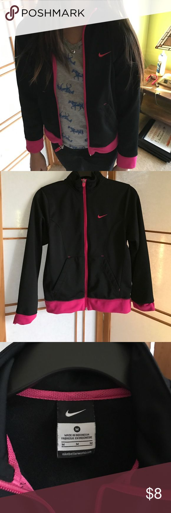 Nike sport Jacket Black/pink junior Girl Sport jacket/ cute / Nike  / too small for my girl . Size: medium. Barely used. Nike Jackets & Coats Utility Jackets