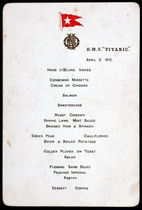 A very rare lunch menu for the first full meal served aboard the Titanic, dated April 2, 1914.