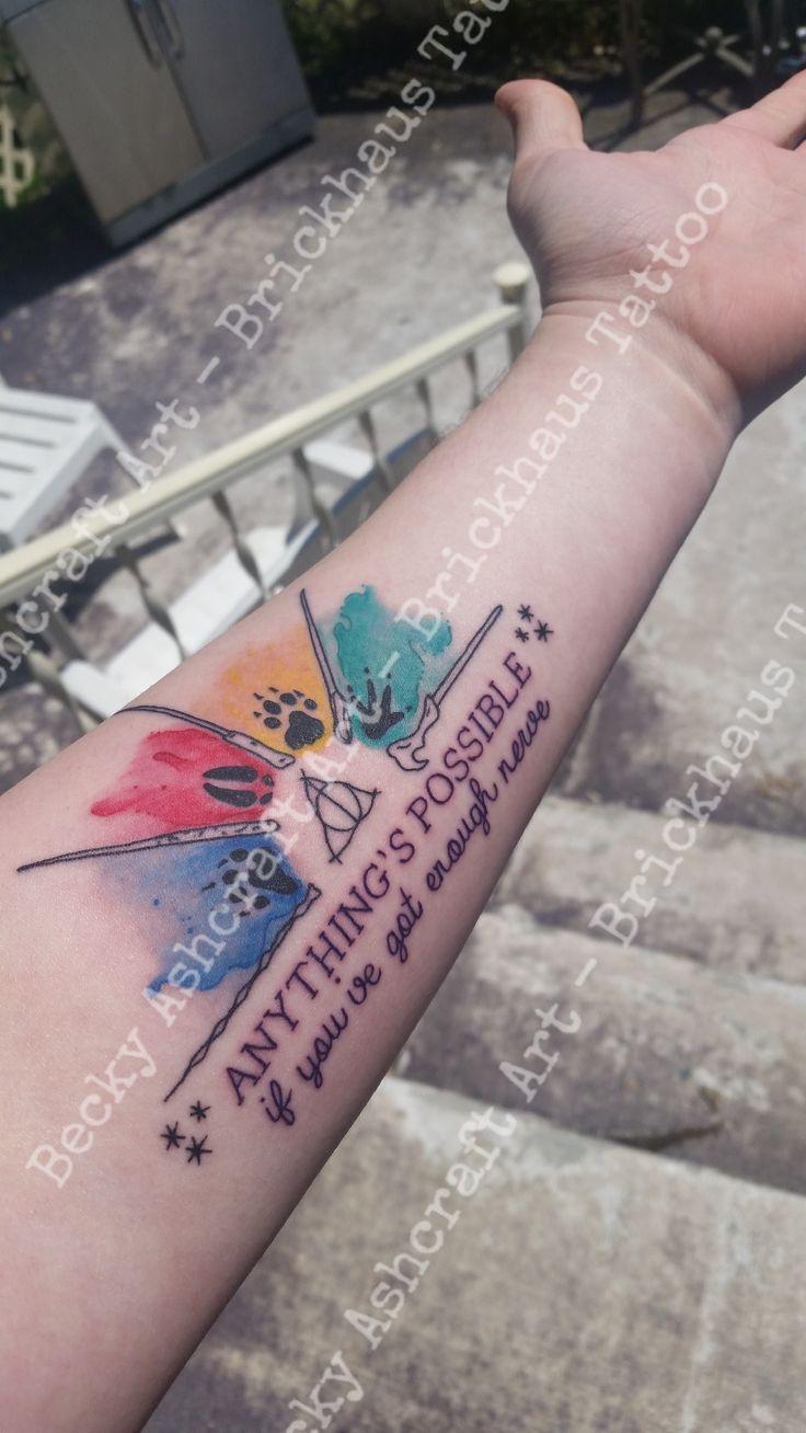 Elegant Harry Potter tattoo Dumbledore Hermione Granger Harry Potter Ron Weasley Voldemort
