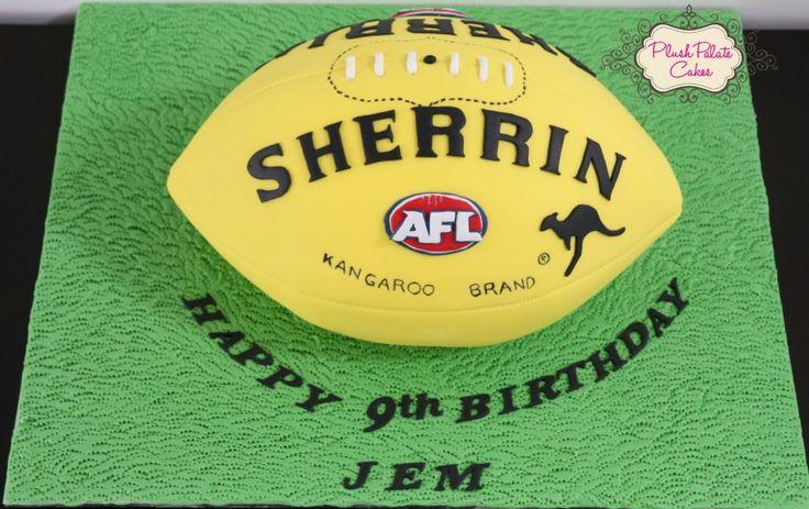 AFL Sherrin Footy Ball Cake - www.plushpalatecakes.com.au/cake-creations/birthday-special-occasion-cakes