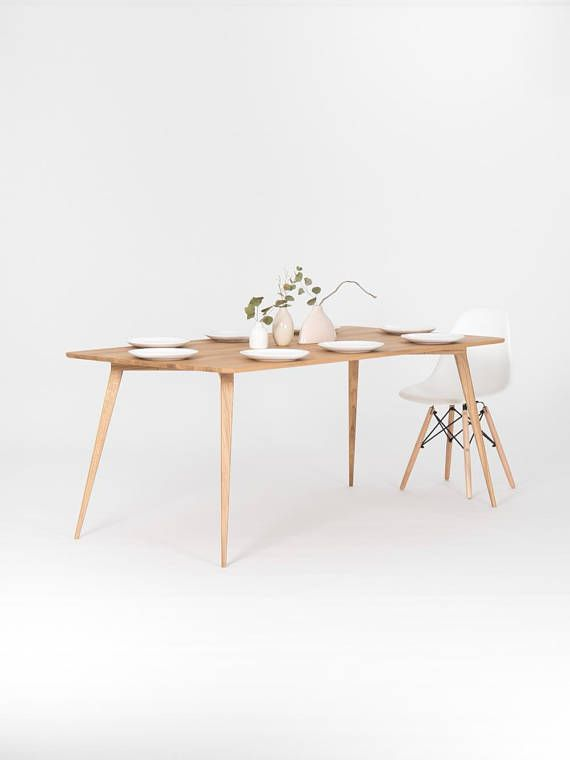 Dining Table Made Of Solid Oak Wood Mid Century Modern Table
