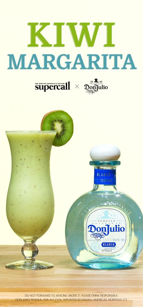 Blitz Don Julio Blanco Tequila, sweet-and-tangy kiwi, creamy avocado—trust us, it works—lime juice, and a splash of agave syrup together in a blender with water and ice. Serve the electric green mixture in a curvy hurricane glass, garnish with a wheel of kiwi, and thank your lucky stars you came across this recipe. #Ad