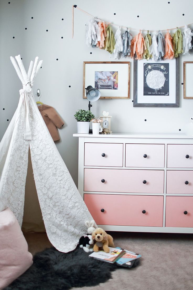 Adorable nursery/child's room decor. Love the tassel garland, ombre dresser, polka dot walls and lace teepee!