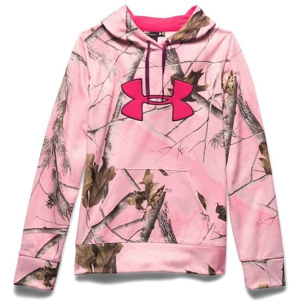 Under Armour Women's Camo Big Logo Hoodie ($75) ❤ liked on Polyvore featuring tops, hoodies, realtree pink, camo hoodies, pink hooded sweatshirt, camo hoodie, under armour hoodies and pink camouflage hoodie