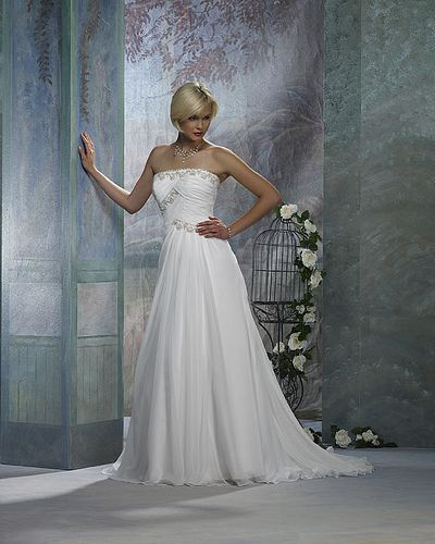 Chiffon Strapless Rouched Bodice with A line Skirt 2011 Hot Sell Simple Informal Wedding Dress WT-021, #wedding #dress