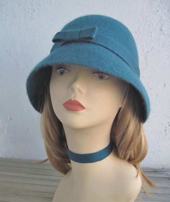 Blue green felted hat Women's hat with brim Felted hat