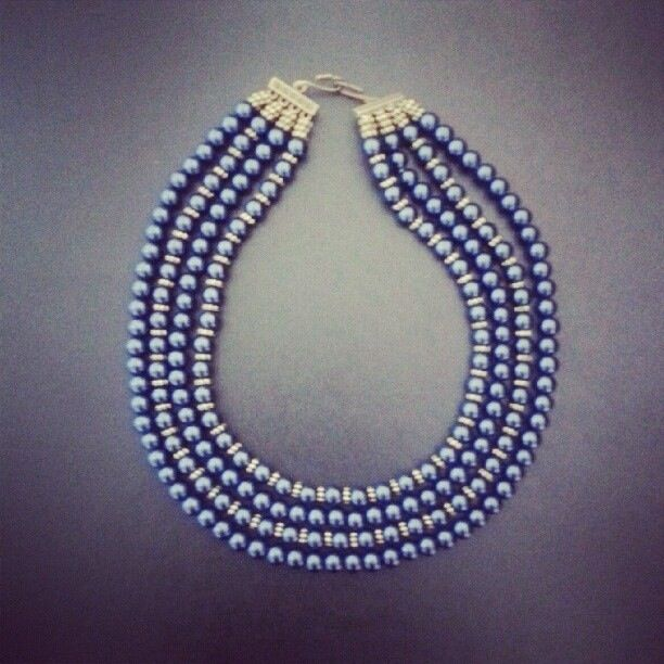 Navy and gold 4string pearl necklace