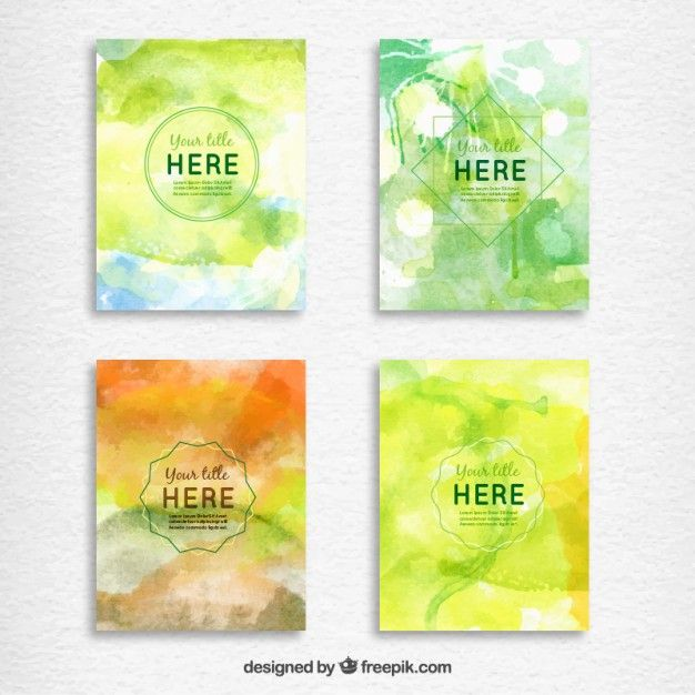 Hand painted brochures pack Free Vector