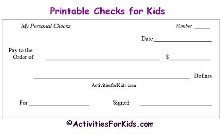 Printable checks and check register educational tool for kids at ActivitiesForKids.com