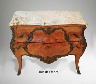 FRENCH ANTIQUE MARQUETRY MARBLE TOP-CHEST OF DRAWERS CABINET