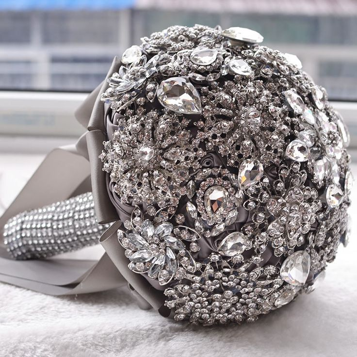 Hot accessori Spilla bouquet da sposa di Lusso Avorio Grigio Cristallo Bouquet Da Sposa Di Seta Wedding flowers Bouquet Da Sposa