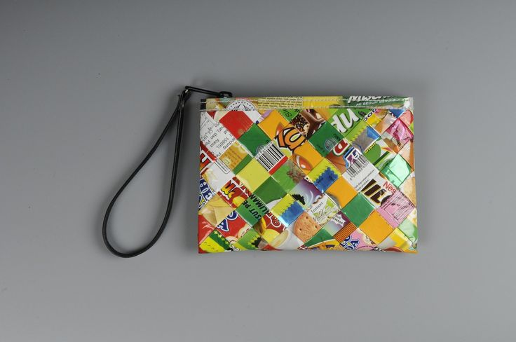 Small zip clutch using candy wrappers