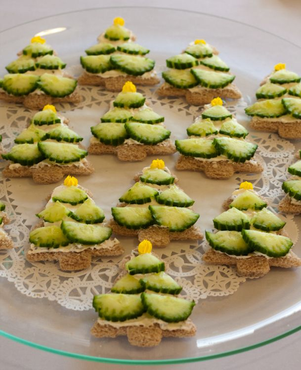 Christmas Tree Tea Sandwiches (1) From: Image only, no direct url. I found a recipe for a similar Christmas Tree Tea Sandwiches on Count It All Joy, here is that link: http://daneesey.blogspot.com/2011/11/two-in-row.html