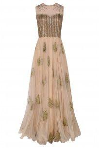 Peach and Gold Floral Motifs and Sequins Work Gown #ridhiarora # perniaspopupshop #shopnow