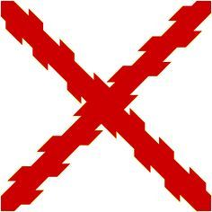 Cross of Burgundy was adopted as the symbol of the Tercios and the Spanish Empire. The Cross of Burgundy (Spanish: Cruz de Borgoña, Cruz de San Andrés) flag was used by Spain 1506-1701 as a naval ensign, and up to 1843 as the land battle flag, and still appears on regimental colours, badges, shoulder patches and company guidons.