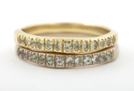 Corinne Hamak yellow and white gold wedding rings