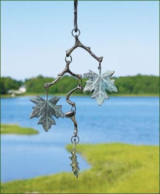 """Maple Leaf Chime - Beautifully-crafted wind chime that promotes peace and tranquility. Maple Leaf 20""""H, 5 1/2"""" W."""