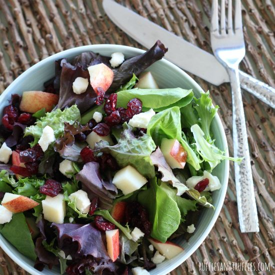 Spring Mix Salad with Apples, Cranberries, and Feta. #recipe