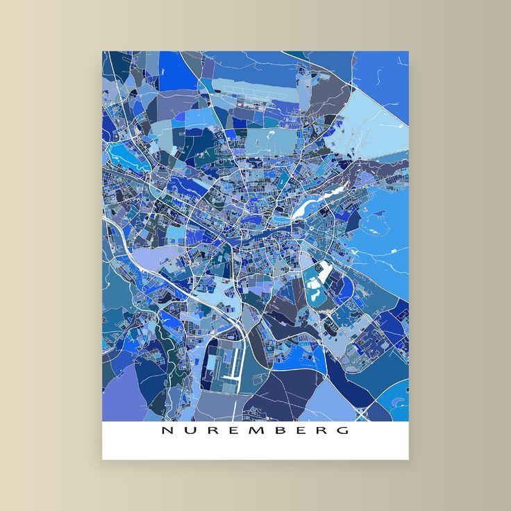 Nuremberg Germany city street map in blue