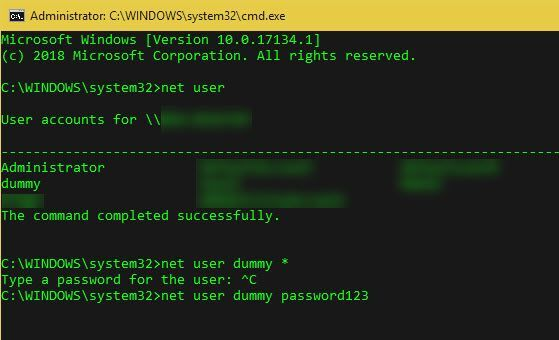 How to Change the Windows Password via Command Line With Net