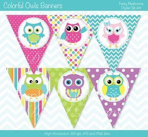 Digital Clipart Printable Owls Banners for by funkymushrooms, €3.20