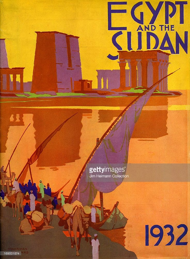 A tourism brochure for Egypt and Sudan by Norman Howard reads 'Egypt and the Sudan, 1932' from 1932 in Egypt. (Illustration by Jim Heimann Collection/Getty Images)