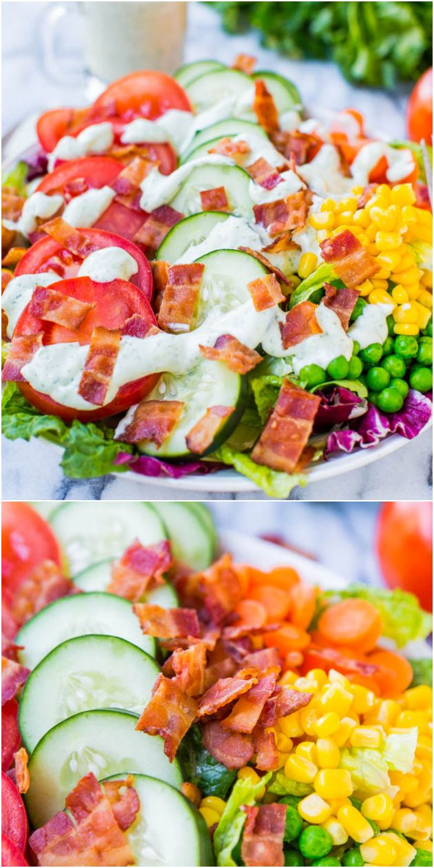BLT Chopped Salad with Homemade Creamy Buttermilk Ranch Dressing - Fast, fresh, healthy  easy! You'll never need to buy ranch dressing again after seeing how easy it is to make your own!