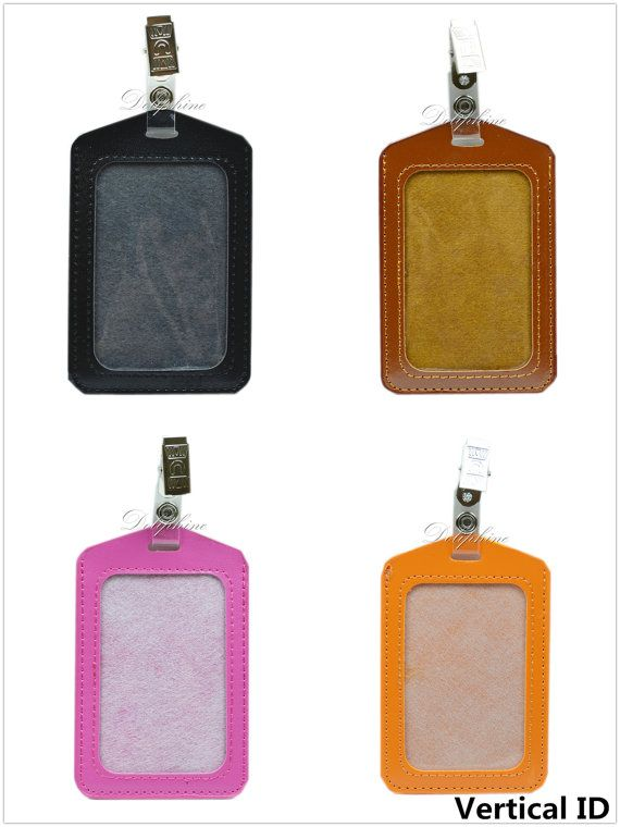 Horizontal / Vertical PU Leather ID Badge Holder with by Doliphine