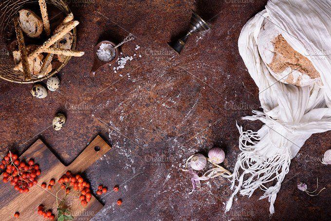 Rustic bread with ingredients  by Iuliia Leonova on @creativemarket