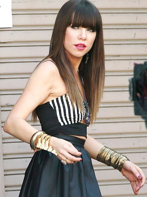 Carly Rae Jepsen rocking a glam-punk look on the set of her new music video!