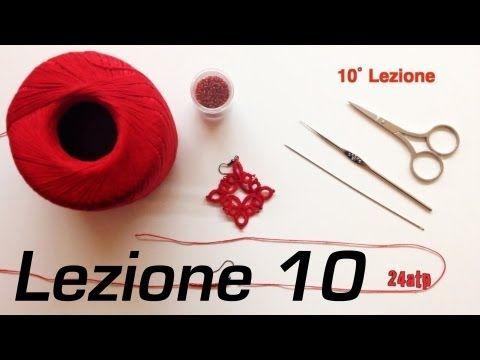 ▶ Chiacchierino Ad Ago - 10˚ Lezione Orecchino a Rombo Bijoux - Tutorial Come Fare Tatting - YouTube