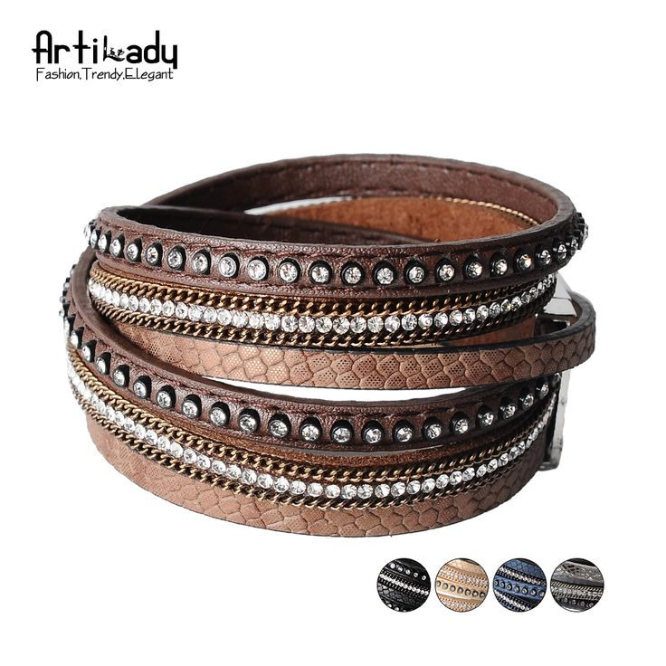 Artilady  wrap leather bangle charm winter leather bracelet women jewelry BW