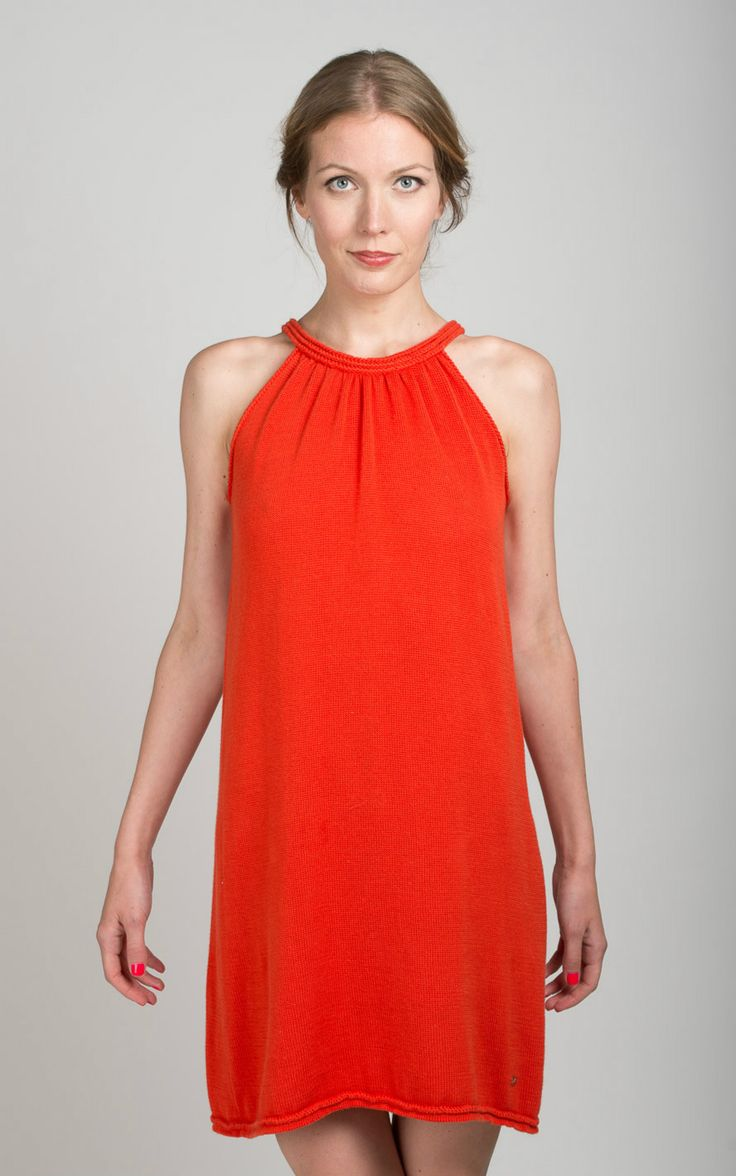 Elegant dress LUCY with hand knit embroidered . 100% Italian Cotton. Nataliya Nada NYC. Luxury Knitwear