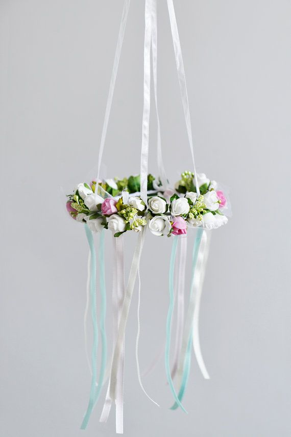 Flower mobile Pink White Flower Mobile Hanging by FlowerHeadpiece