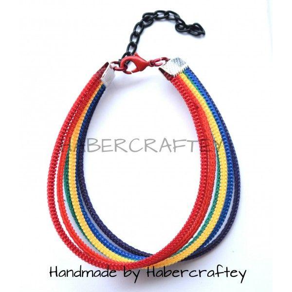Rainbow Zipper Wristy - handmade UNISEX zip wristband bracelet