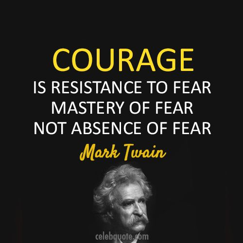 """""""Courage is resistance to fear, mastery of fear - not absence of fear."""""""