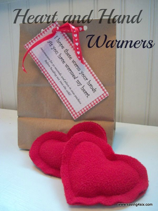 DIY Heart and Hand Warmers. Great craft project for the girlies :)