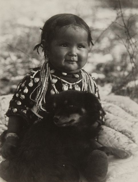 Native American Child with Dog